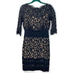 Tadashi Shoji Blouson Waist Lace Dress Black Sz 4